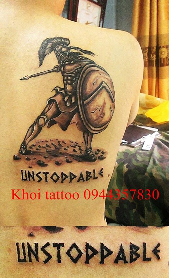 Hình xăm Spartancus đẹp ở lưng tại Khôi Tattoo Lò Đúc